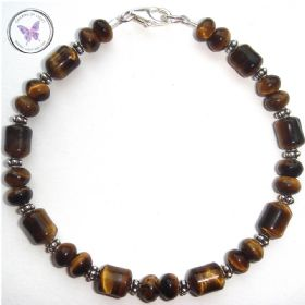 Pretty Tiger Eye Bracelet with Silver Clasp